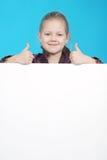 Ragazza e scheda bianca Fotografia Stock