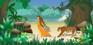 Ragazza e tigre in foresta Immagini Stock Libere da Diritti