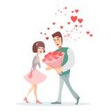 Ragazza e tipo alla data romantica Immagine Stock