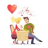 Ragazza e tipo alla data romantica in ristorante Immagine Stock