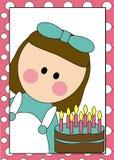 Ragazza e torta di compleanno Illustrazione di Stock