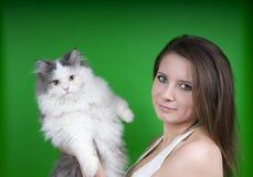 Ragazza e un gatto fotografie stock libere da diritti