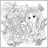 Ragazza e unicorno svegli nel giardino di rose Coloritura del disegno di profilo illustrazione di stock