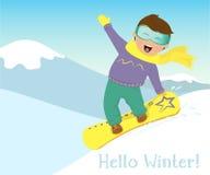 Ragazza e uno snowboard del ragazzo nelle montagne Fotografie Stock Libere da Diritti