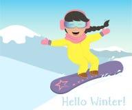 Ragazza e uno snowboard del ragazzo nelle montagne Immagine Stock Libera da Diritti
