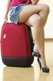 Ragazza e valigia Fotografie Stock Libere da Diritti