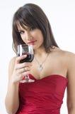 Ragazza e vino Fotografie Stock