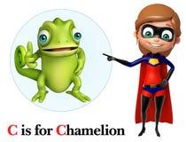 Ragazza eccellente che indica Chamelion royalty illustrazione gratis