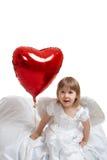 Ragazza ed aerostato del cuore Fotografia Stock Libera da Diritti