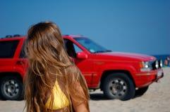 Ragazza ed automobile Fotografia Stock Libera da Diritti
