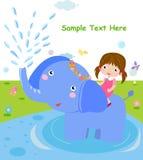 Ragazza ed elefante illustrazione vettoriale