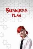 Ragazza ed il business plan di parole immagine stock