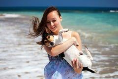 Ragazza ed il cane Fotografie Stock