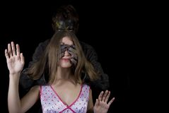 Ragazza ed il mostro Fotografie Stock Libere da Diritti