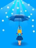 Ragazza ed ombrello Immagine Stock