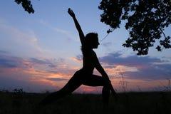 Ragazza esile che mostra le varie pose e che balla nel campo all'aperto sopra Immagine Stock