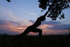 Ragazza esile che mostra le varie pose e che balla nel campo all'aperto sopra Fotografie Stock