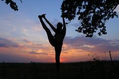 Ragazza esile che mostra le varie pose e che balla nel campo all'aperto sopra Immagini Stock Libere da Diritti