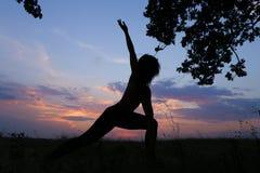 Ragazza esile che mostra le varie pose e che balla nel campo all'aperto sopra Fotografia Stock