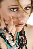 Ragazza eyed marrone di Jewelery Fotografie Stock