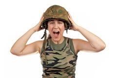 Ragazza fatta arrabbiare del soldato Fotografie Stock