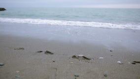 Ragazza felice in cappotto rosa vicino al mare durante la tempesta Il mare lava le sue orme nella sabbia stock footage
