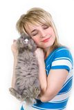 Ragazza felice che abbraccia un coniglietto Immagini Stock