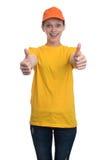 Ragazza felice che mostra i pollici su Fotografie Stock