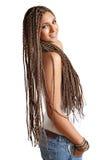 Ragazza felice con i capelli dei dreadlocks fotografie stock