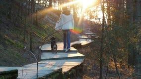 Ragazza felice con il gioco con il suo bassotto tedesco del cane nel parco di primavera Ragazza che cammina con il cane nella for archivi video