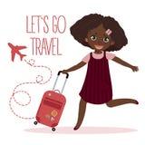 Ragazza felice con la valigia Lasciano andare il viaggio illustrazione vettoriale