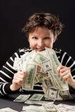 Ragazza felice con soldi fotografie stock