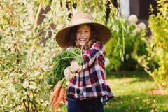 Ragazza felice del bambino dell'agricoltore che seleziona il raccolto domestico fresco della carota di crescita Fotografie Stock