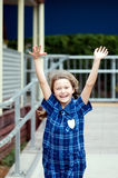 Ragazza felice del banco Fotografia Stock Libera da Diritti
