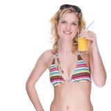 Ragazza felice del bikini Fotografie Stock Libere da Diritti