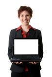 Ragazza felice del computer portatile Immagine Stock