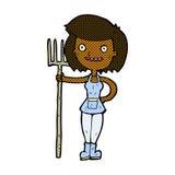 ragazza felice dell'agricoltore del fumetto comico Fotografia Stock Libera da Diritti