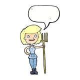 ragazza felice dell'agricoltore del fumetto con il fumetto Fotografia Stock