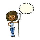 ragazza felice dell'agricoltore del fumetto con la bolla di pensiero Immagini Stock Libere da Diritti