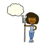 ragazza felice dell'agricoltore del fumetto con la bolla di pensiero Fotografia Stock Libera da Diritti