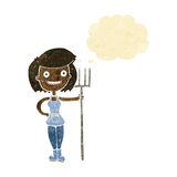 ragazza felice dell'agricoltore del fumetto con la bolla di pensiero Fotografie Stock