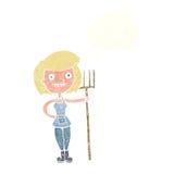 ragazza felice dell'agricoltore del fumetto con la bolla di pensiero Immagine Stock