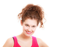 Ragazza felice della donna di sport di forma fisica dopo la palestra di allenamento isolata Fotografia Stock Libera da Diritti