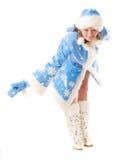 Ragazza felice della neve Fotografie Stock