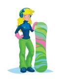 Ragazza felice dello snowboarder che tiene uno snowboard royalty illustrazione gratis