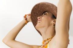 Ragazza felice di estate isolata Fotografia Stock