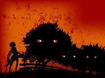 Ragazza felice di Halloween nella malvagità Fotografie Stock Libere da Diritti