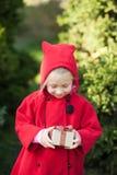Ragazza felice di inverno in cappotto rosso che si siede accanto all'albero di Natale e che tiene scatola attuale immagini stock libere da diritti