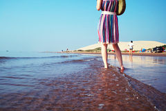 Ragazza in festa della spiaggia Immagine Stock