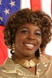 Ragazza fiera con la bandiera americana Fotografia Stock Libera da Diritti